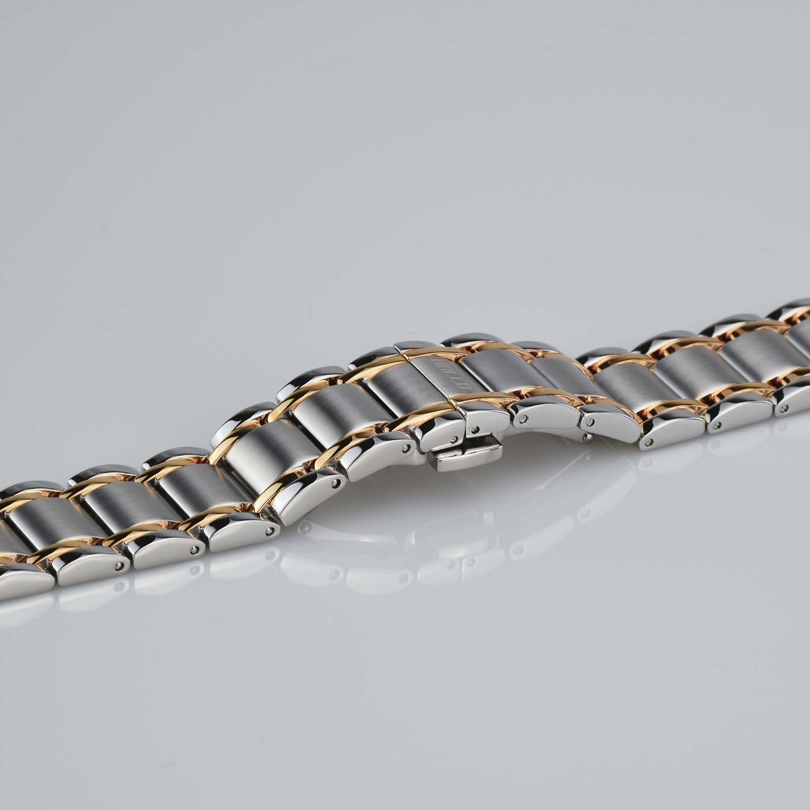 Silver And Rose Gold Stainless Steel Watch Band