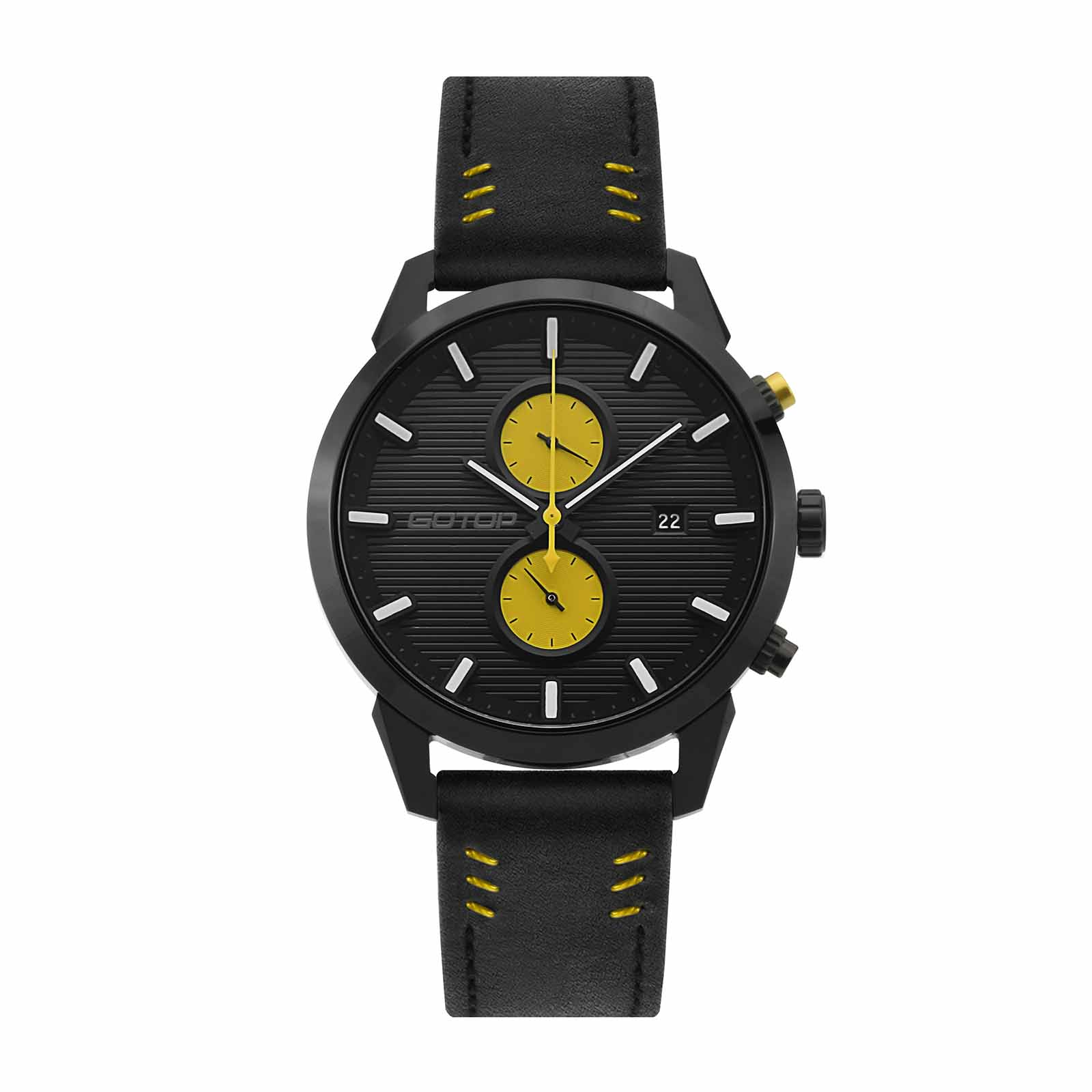Genuine Leather Dual Dial Watches For Men