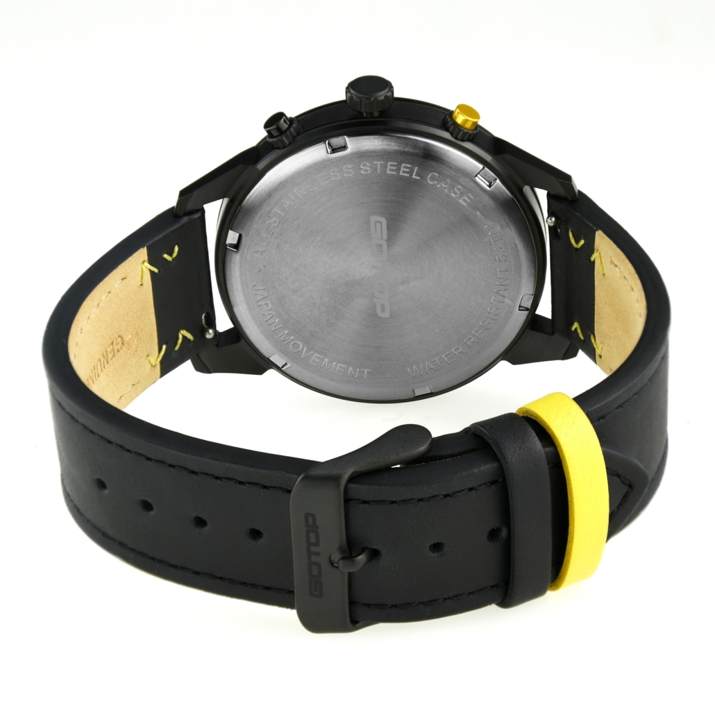 SS661 Genuine Leather Dual Dial Watches For Men