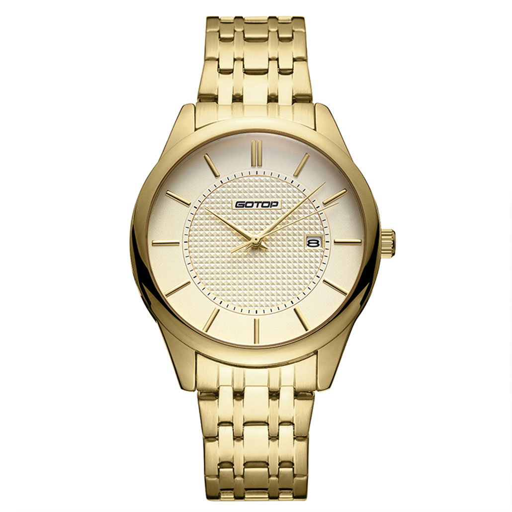 AW284 Gold Stainless-Steel Men's Watch With Metal Bracelet