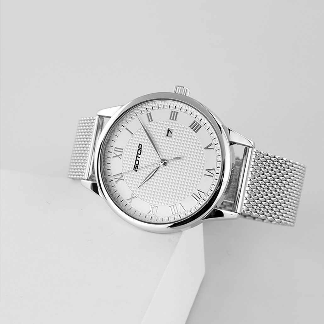 AW386 Silver And White Men's Watch With Roman Numera