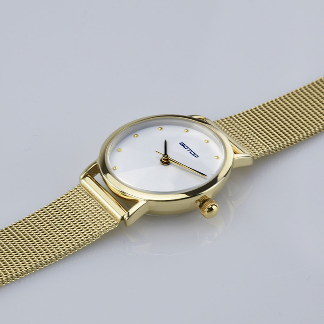 AW478 Pure White Face Women's Watch With Mesh Band