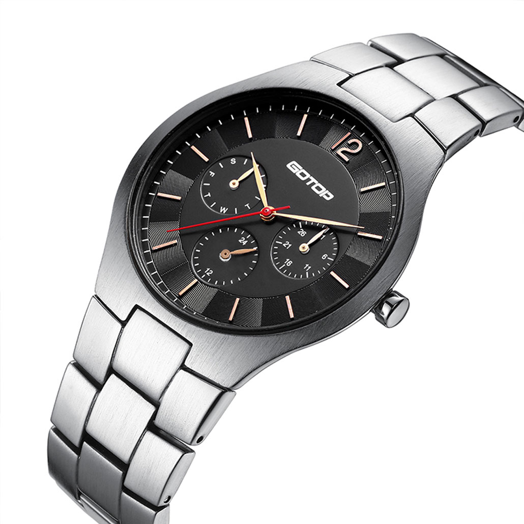 AW517 Stainless-Steel Men's Watch With Brushed Finish And Built-In Metal Band