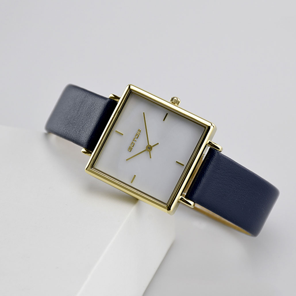 BW005-01 Square Rose Gold And White Women's Watch In Stainless Steel And Leather