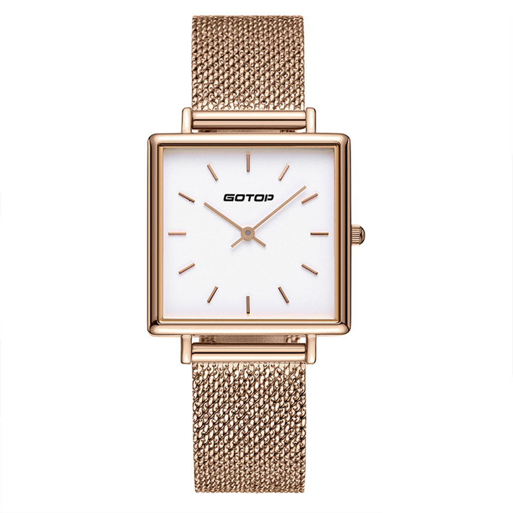 BW005-02 Square Rose Gold Stainless Steel Women's Watch With Mesh Band
