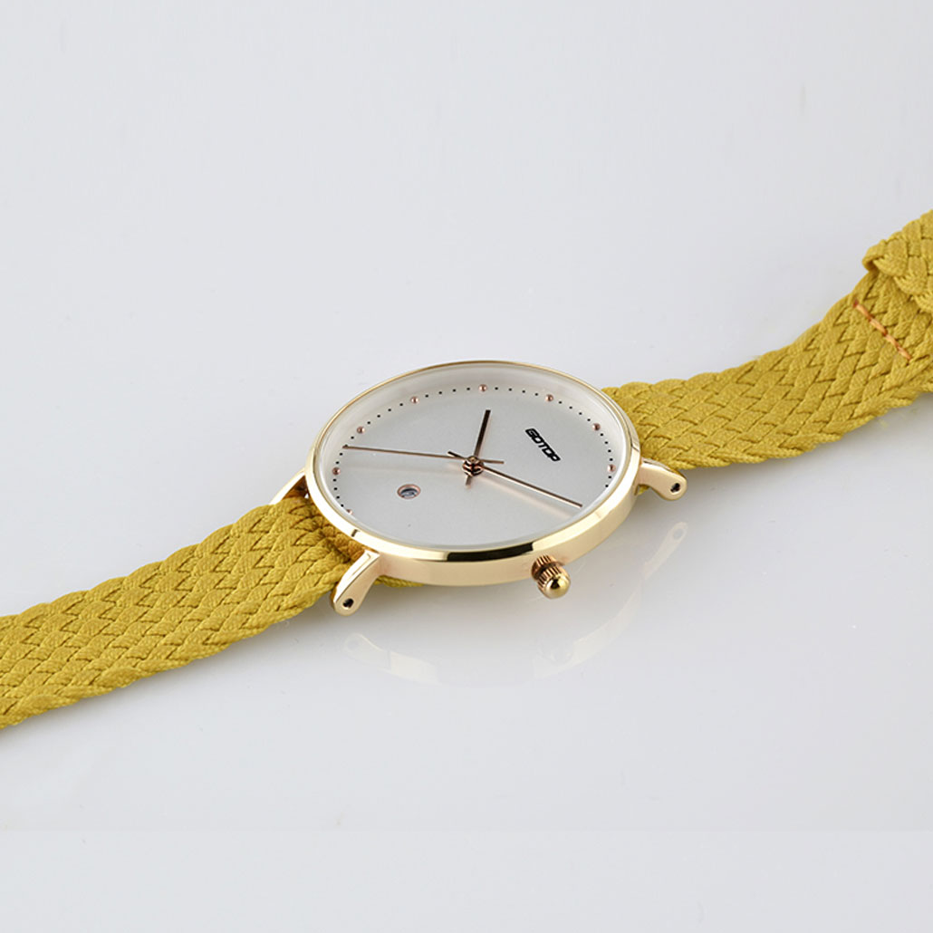 PW794 Rose Gold Women's Watch With Yellow Strap
