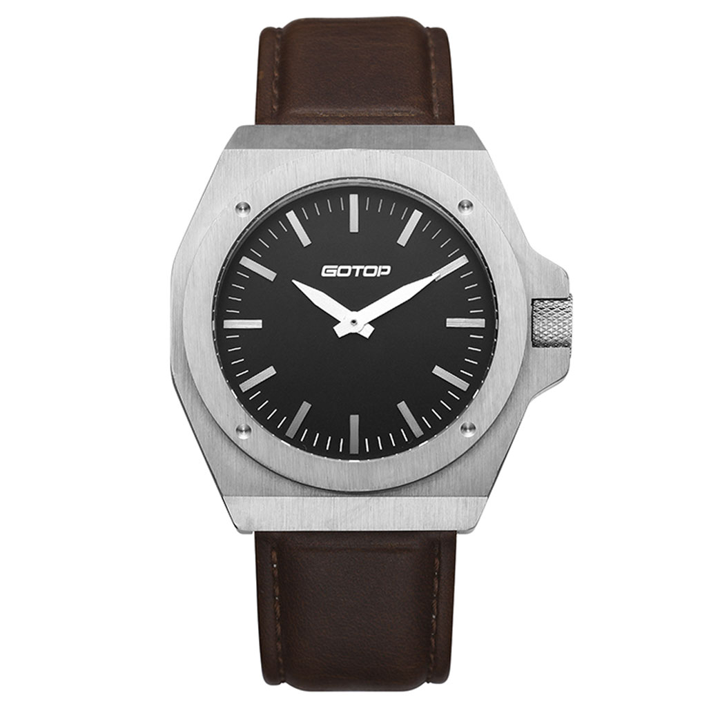 SS268 Stainless-Steel Men's Watch With Brown Leather Strap