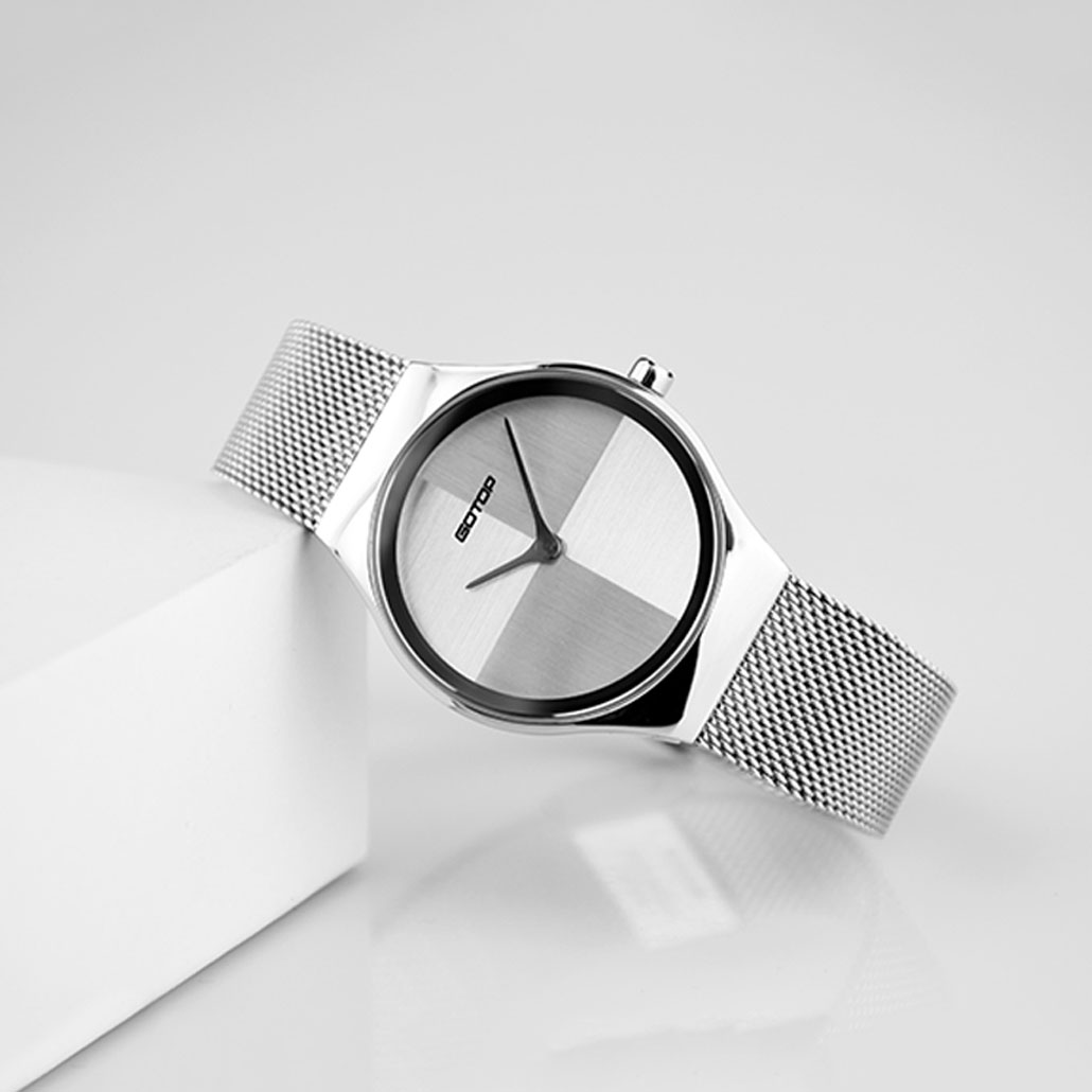 SS718 Silver Stainless Steel Women's Watch With Mesh Band
