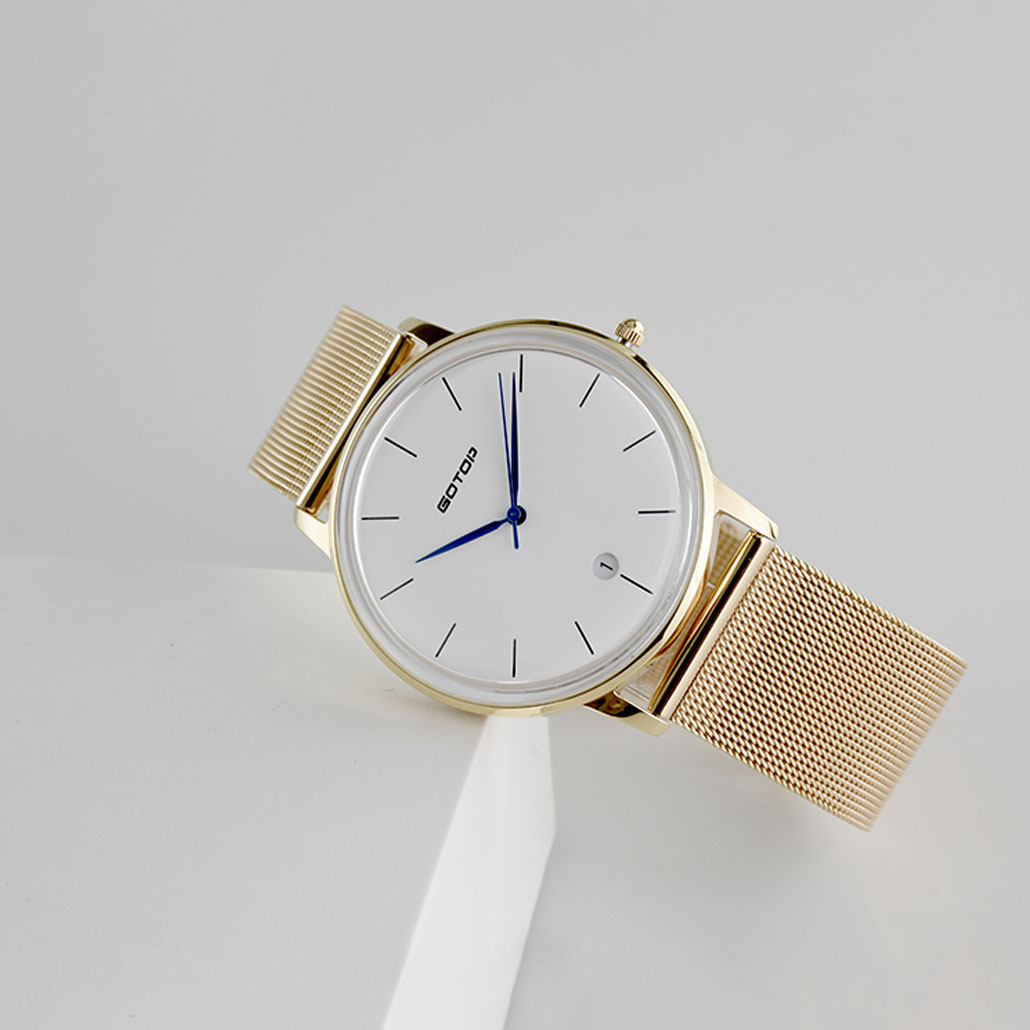 SS297-02 Gold Men's Watch With Metal Mesh Band