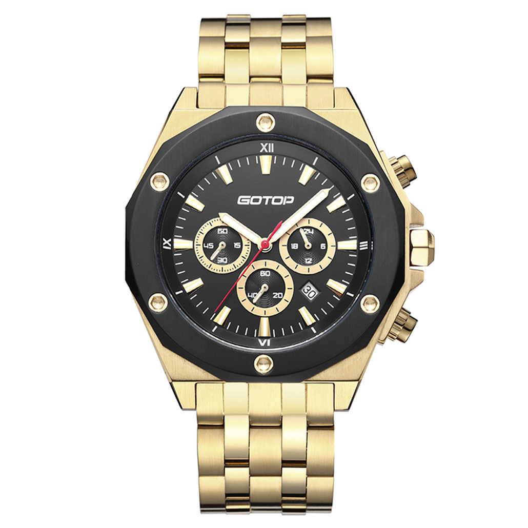 SS299 Gold And Black Men's Stainless-Steel Watch