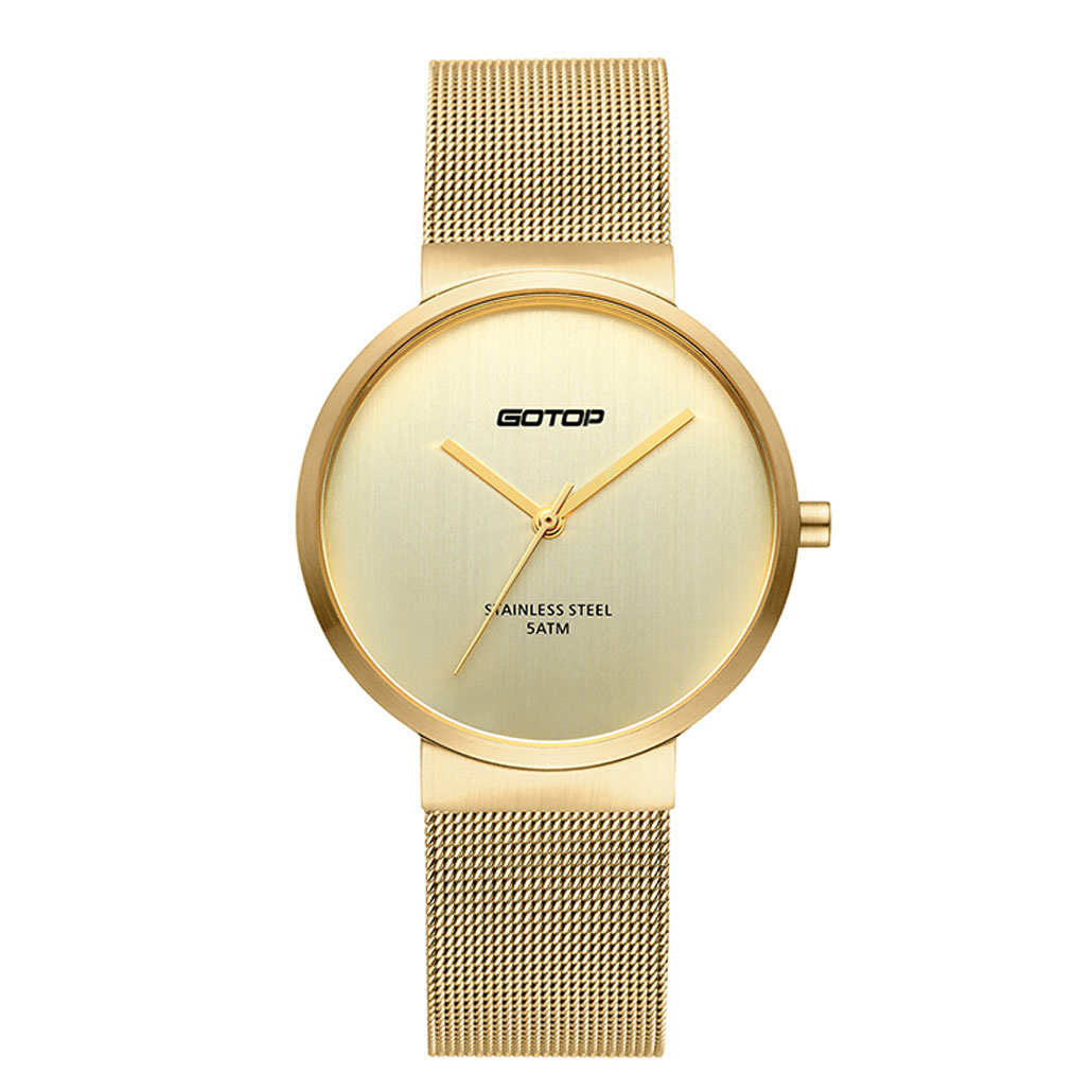 SS306-02 All Gold Women's Watch With Mesh Band And Slim Bezel