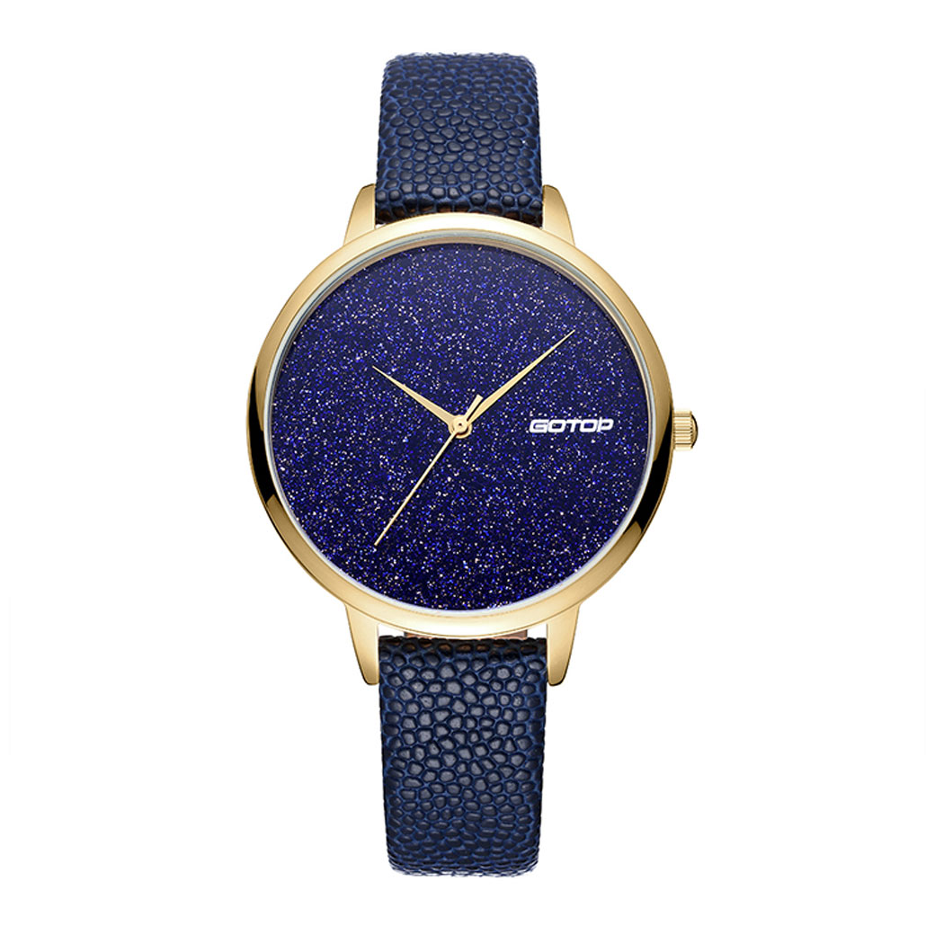SS353 Blue And Gold Women's Watch With Leather Strap