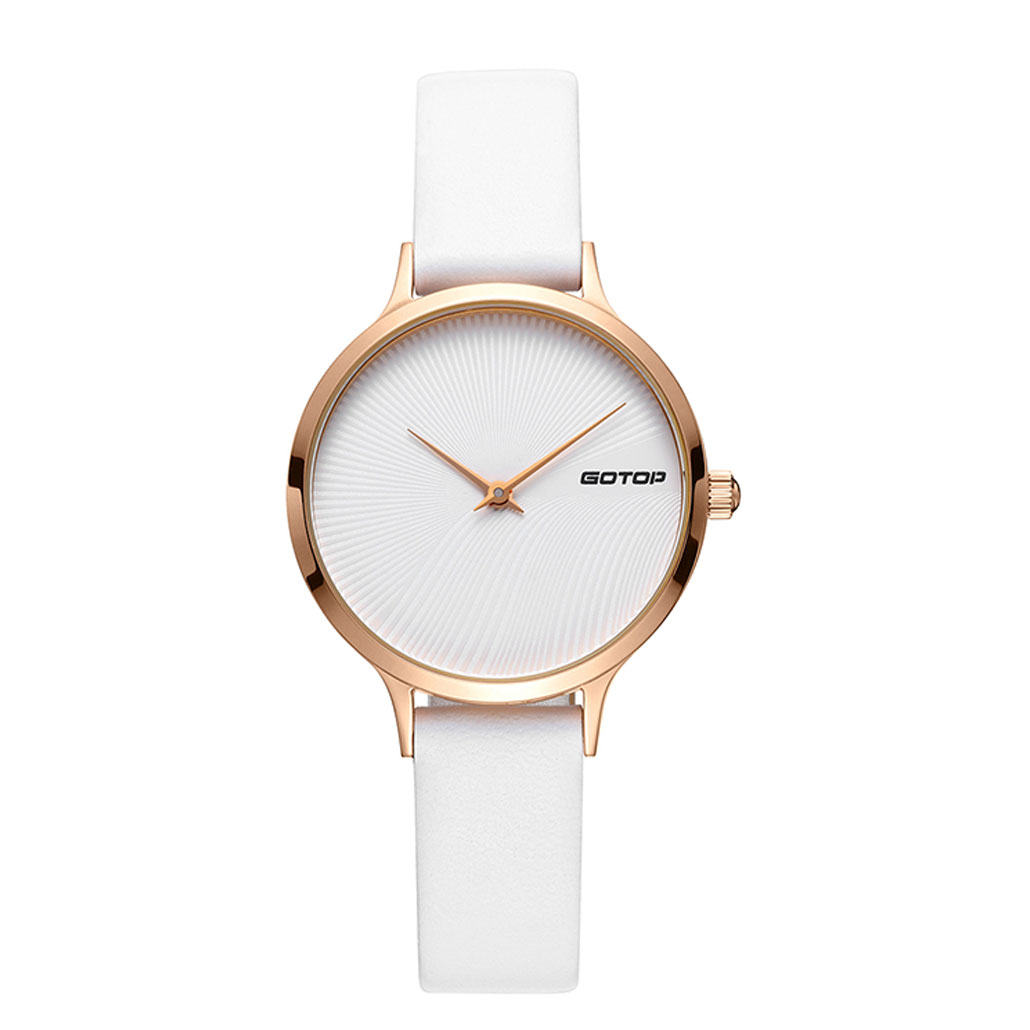 SS396-01 White And Rose Gold Women's Watch With White Leather Strap