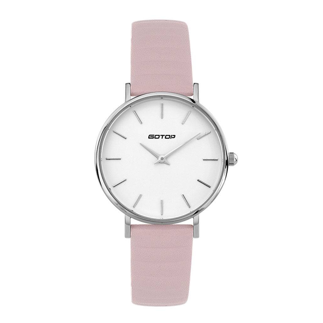 SS397 DW Style Silver And White Women's Watch With Pink Leather Strap