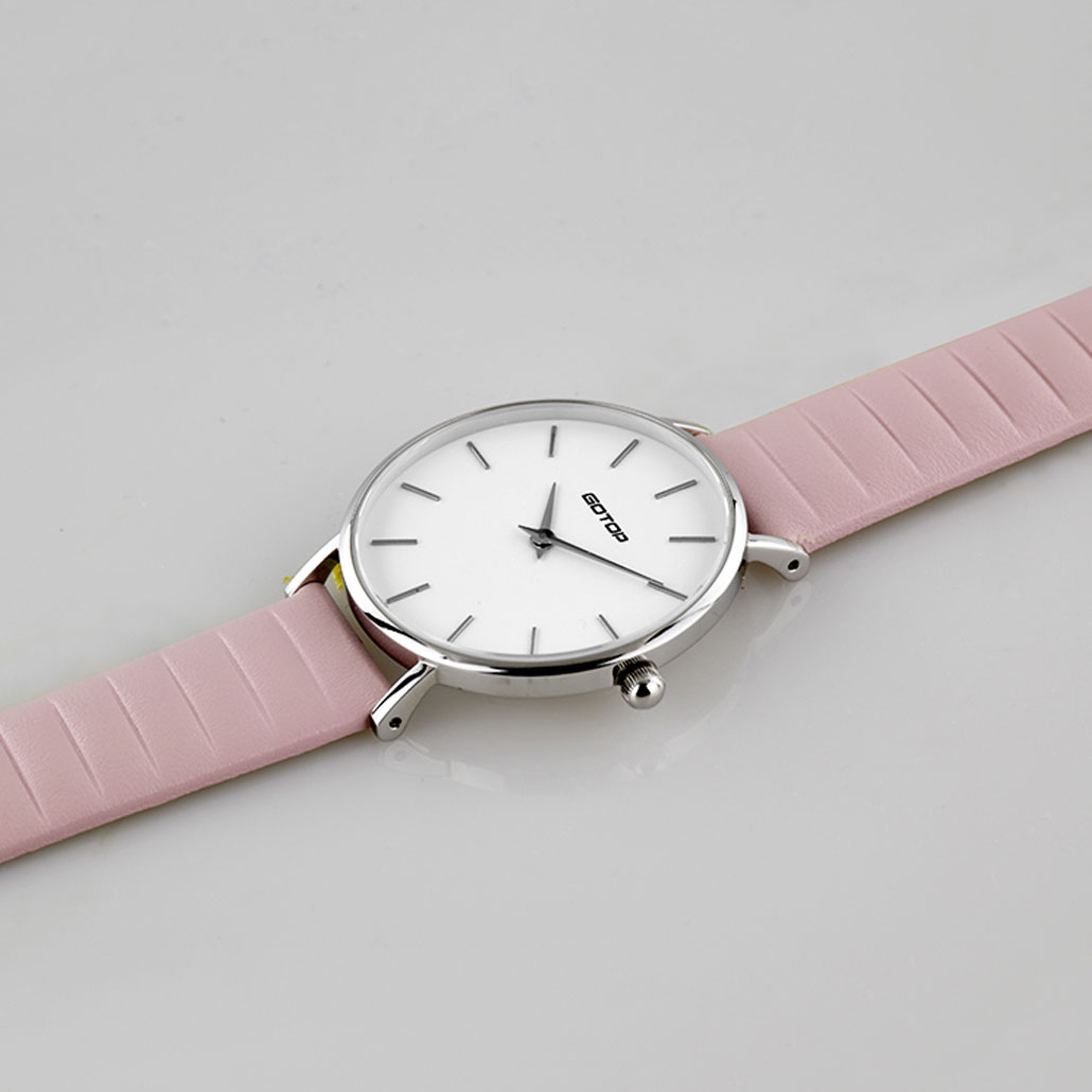 SS397 Silver And White Women's Watch With Pink Leather Strap