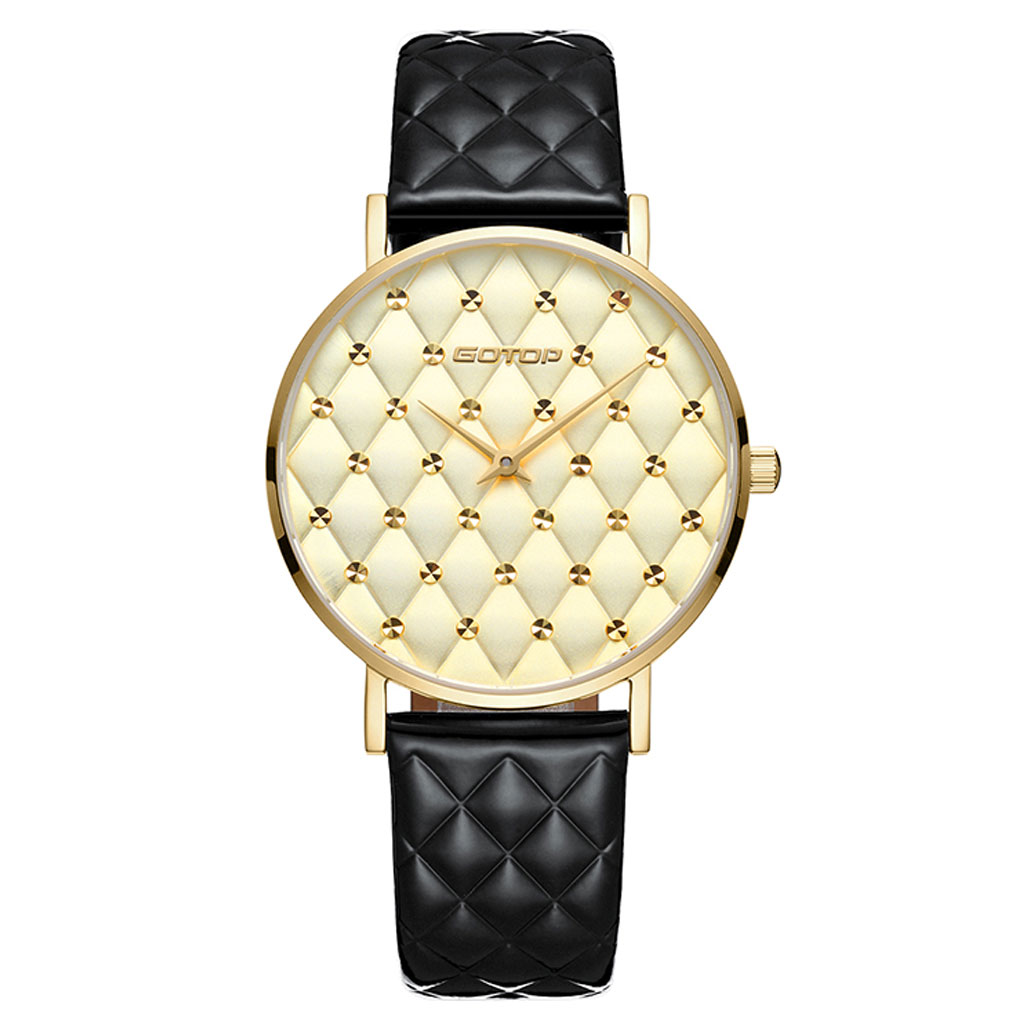 SS399 Black And Gold Quilt-Effect Women's Watch