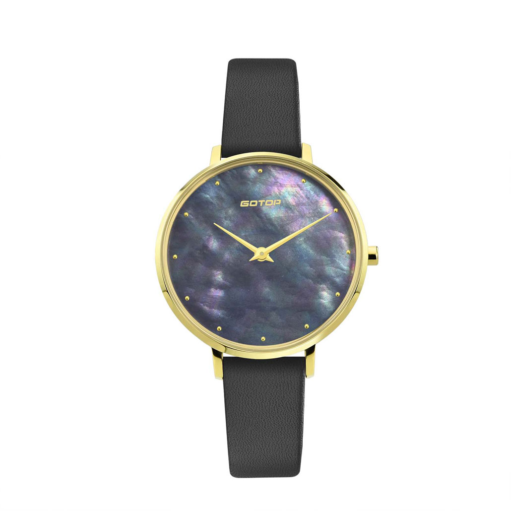 SS545-01 Gold And White Women's Watch With Mother Of Pearl Dial