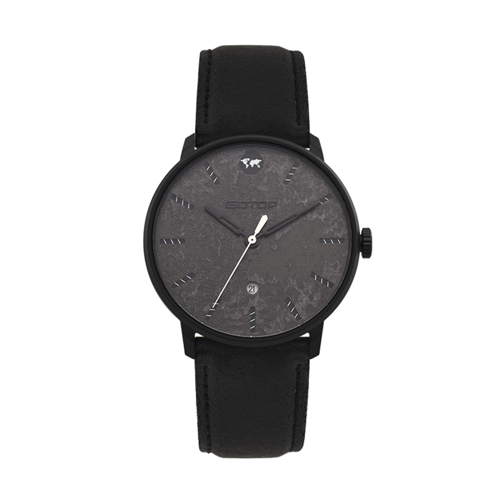 SS549-01 Men's Black Watch With Leather Strap