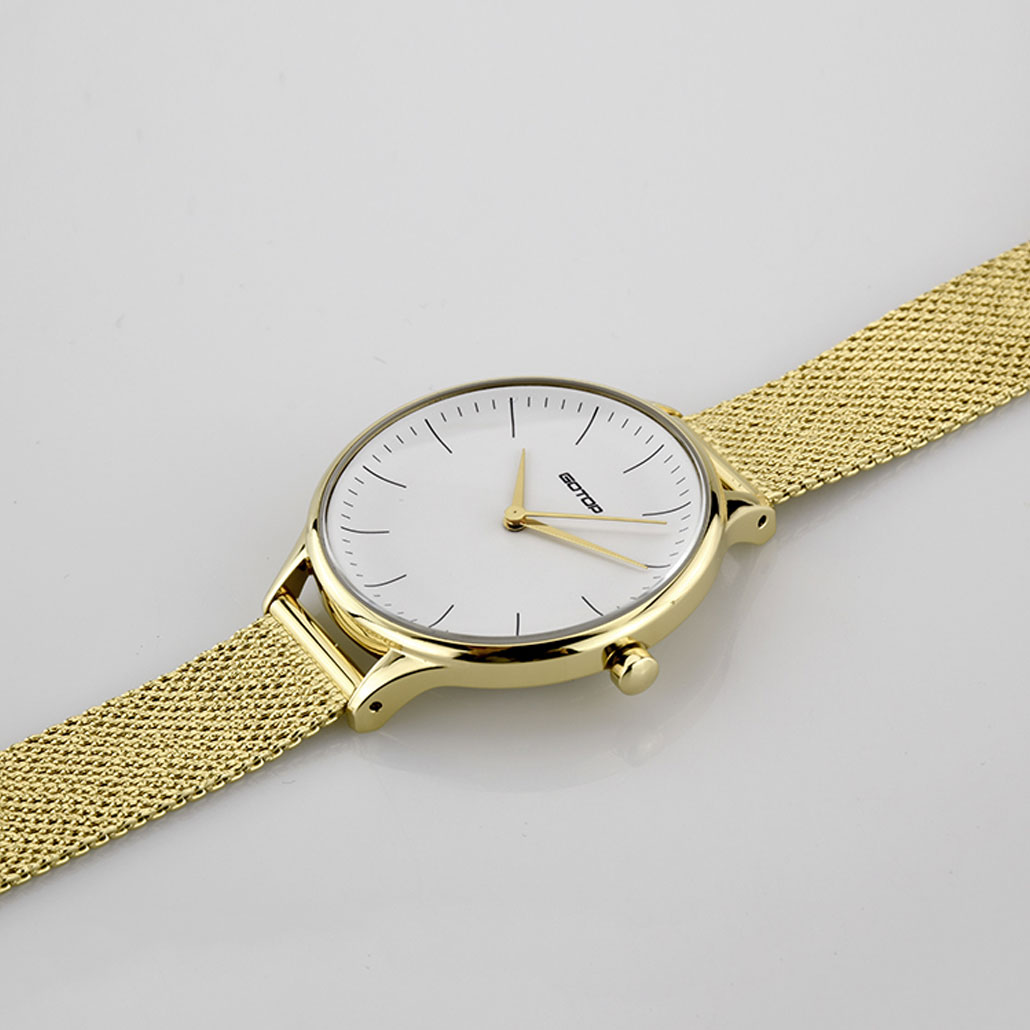 SS553-02 Gold And White Women's Watch With Mesh Band