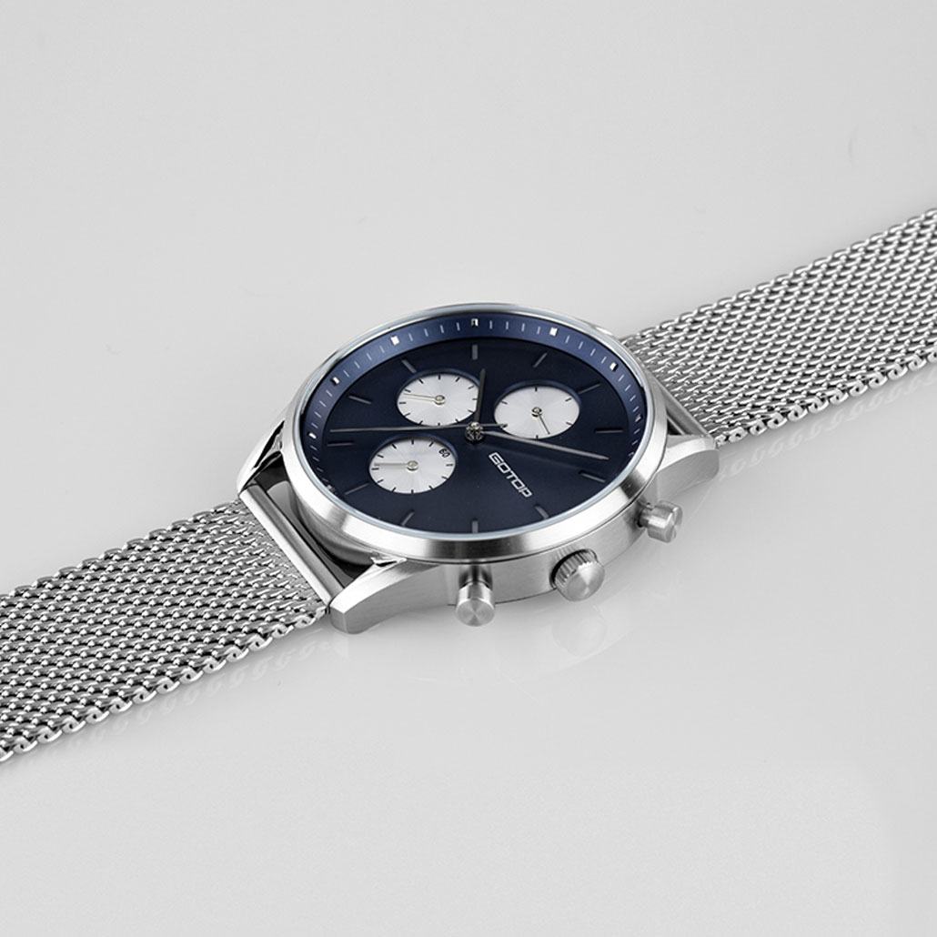 Khaki And Black Men's Watch With Stainless-Steel Mesh Band