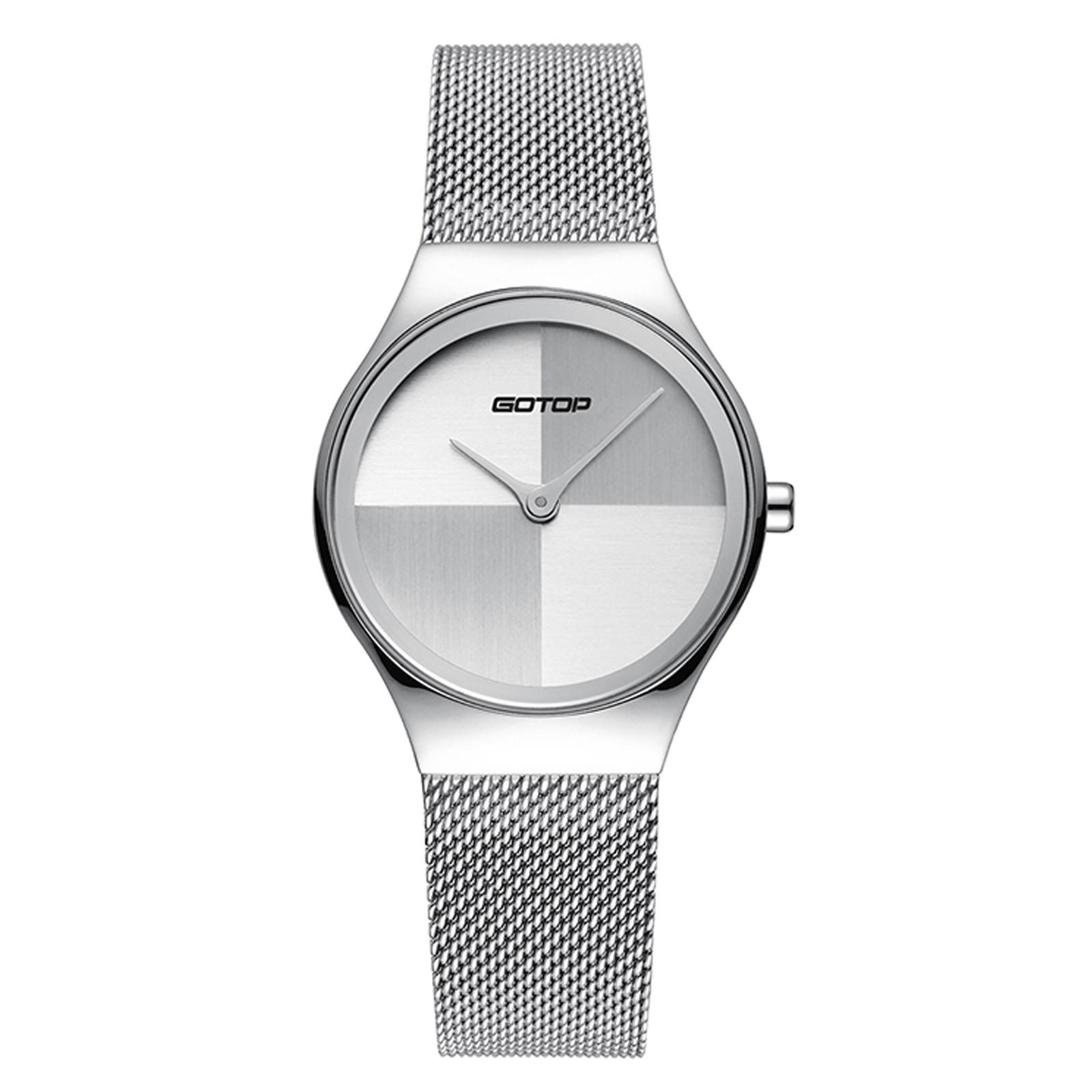 Silver Stainless-Steel Women's Watch With Mesh Band