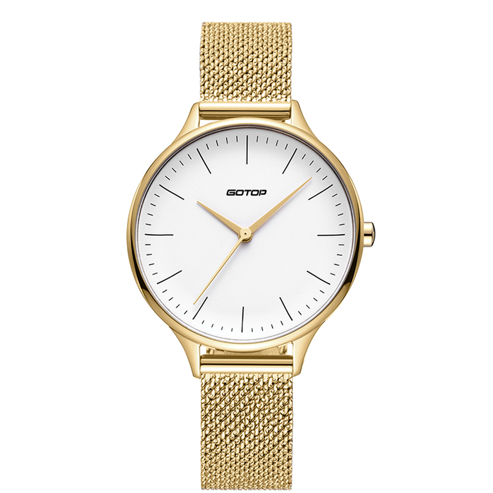 Gold And White Women's Watch With Mesh Band