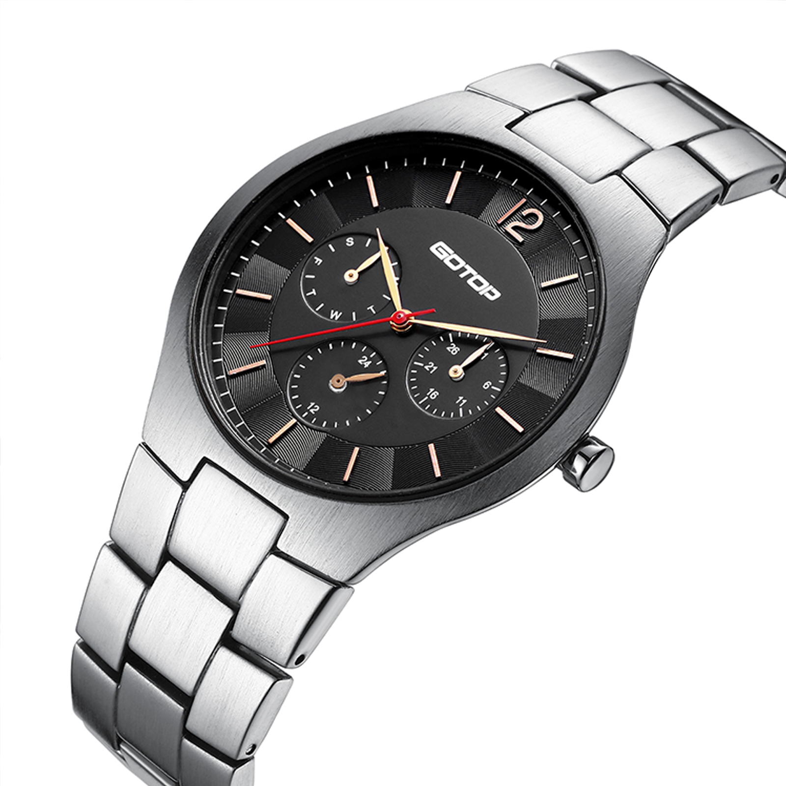 Stainless-Steel Men's Watch With Brushed Finish And Built-In Metal Band