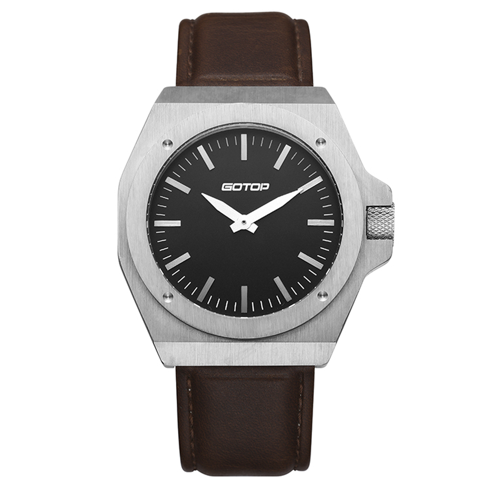 Stainless-Steel Men's Watch With Brown Leather Strap