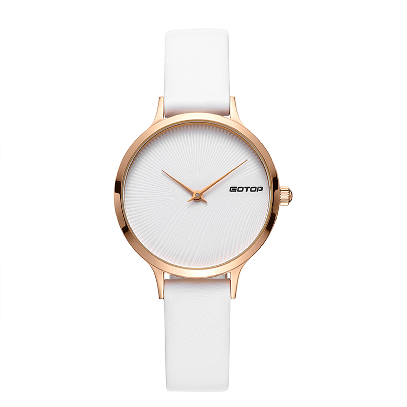 White And Rose Gold Women's Watch With White Leather Strap