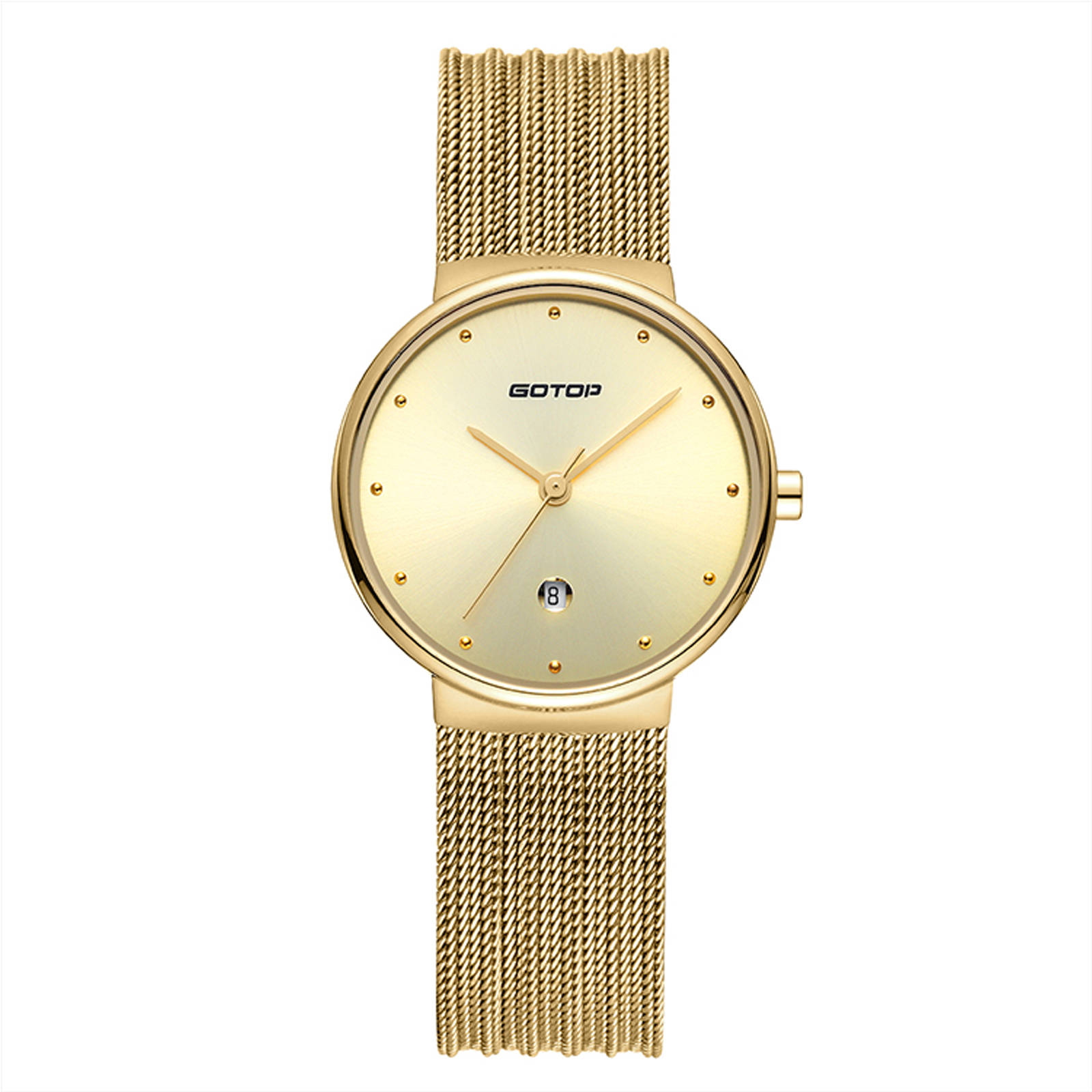 Silver And Mother Of Pearl Women's Watch With Mesh Band
