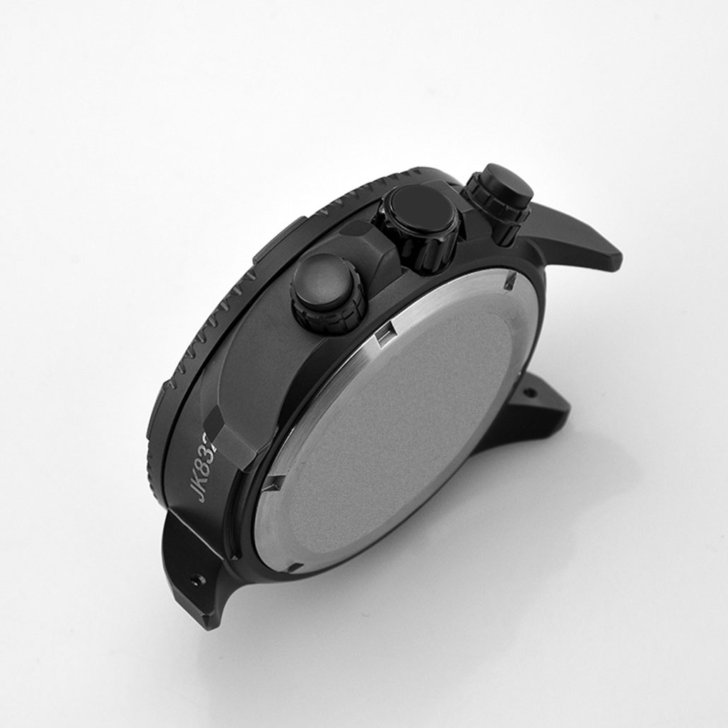WC008 Stainless Steel Black Watch Case with Rotating Bezel