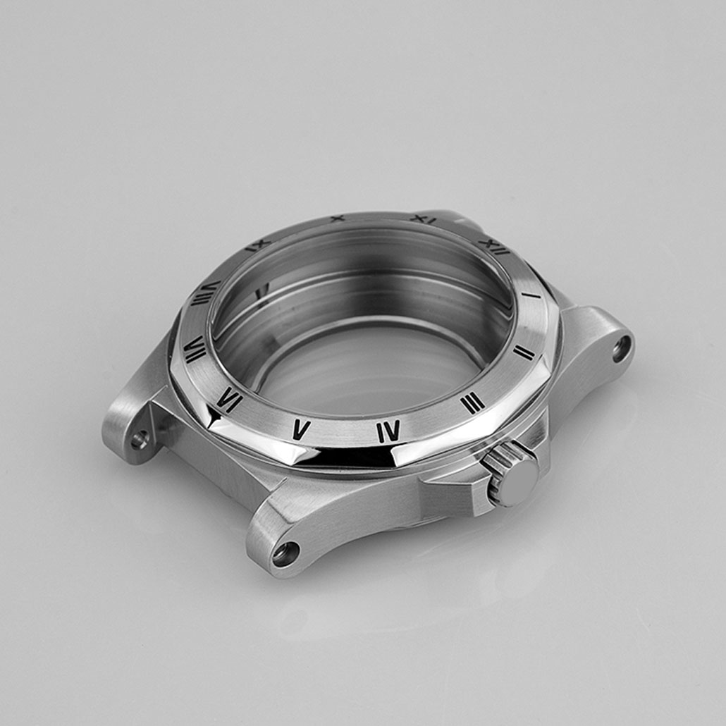 Round Stainless-Steel Watch Case with Screw Detail