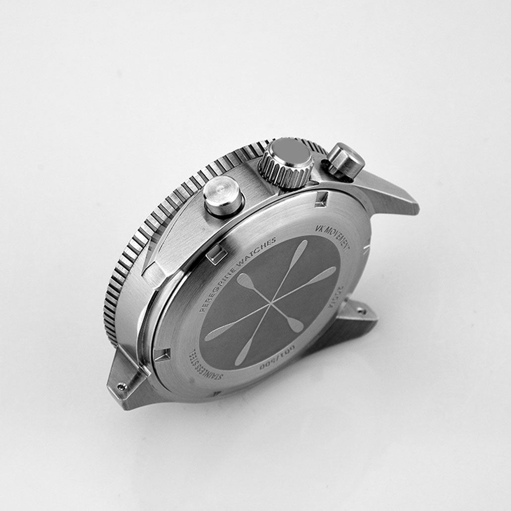 WC022 Stainless Steel Watch Case With Black Bezel