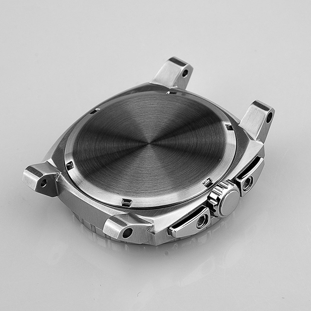WC024 Polished Stainless-Steel watch Case with Knurled Details
