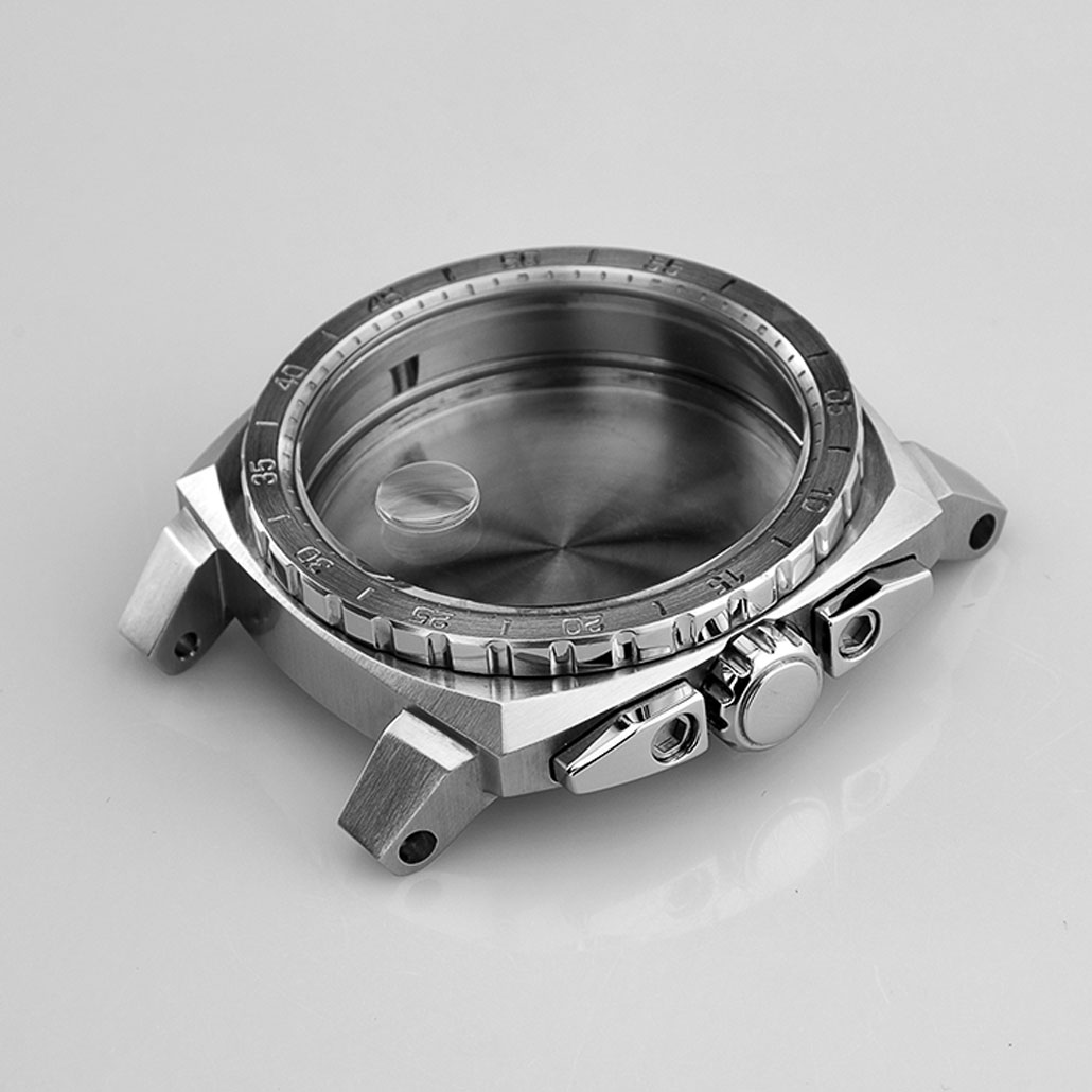 Polished Stainless-Steel Watch Case With Knurled Details