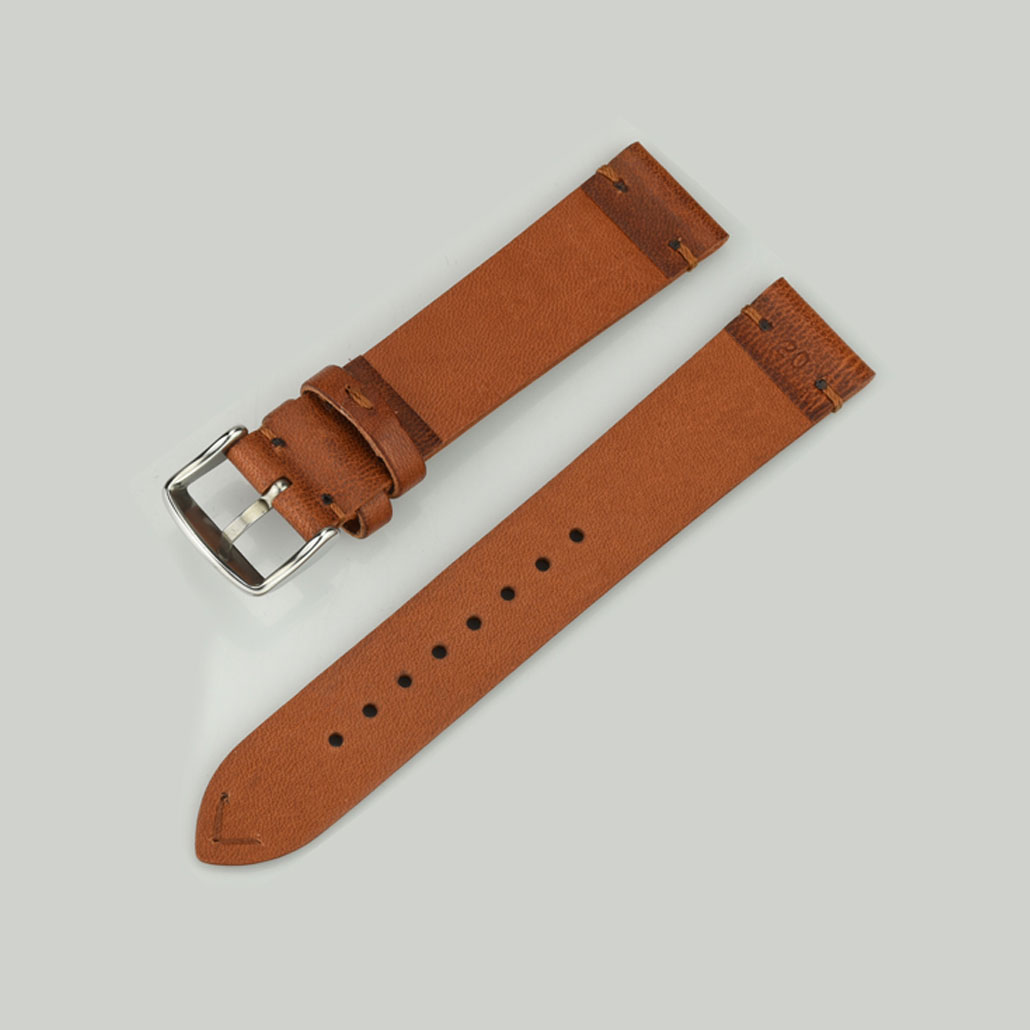 WL007 Fine Leather Watch Strap In Brown