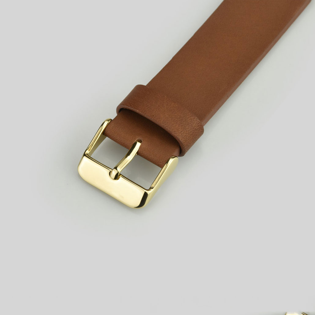 WL013 Coffee And Gold Leather Watch Strap