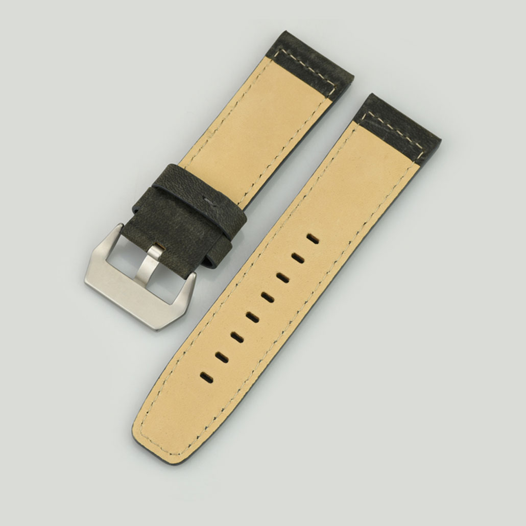 WL014 Grey Leather Men's Watch Strap