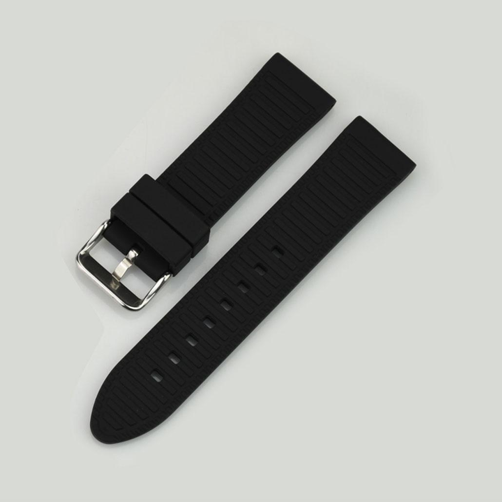 WR002 Black Silicone Rubber Watch Strap