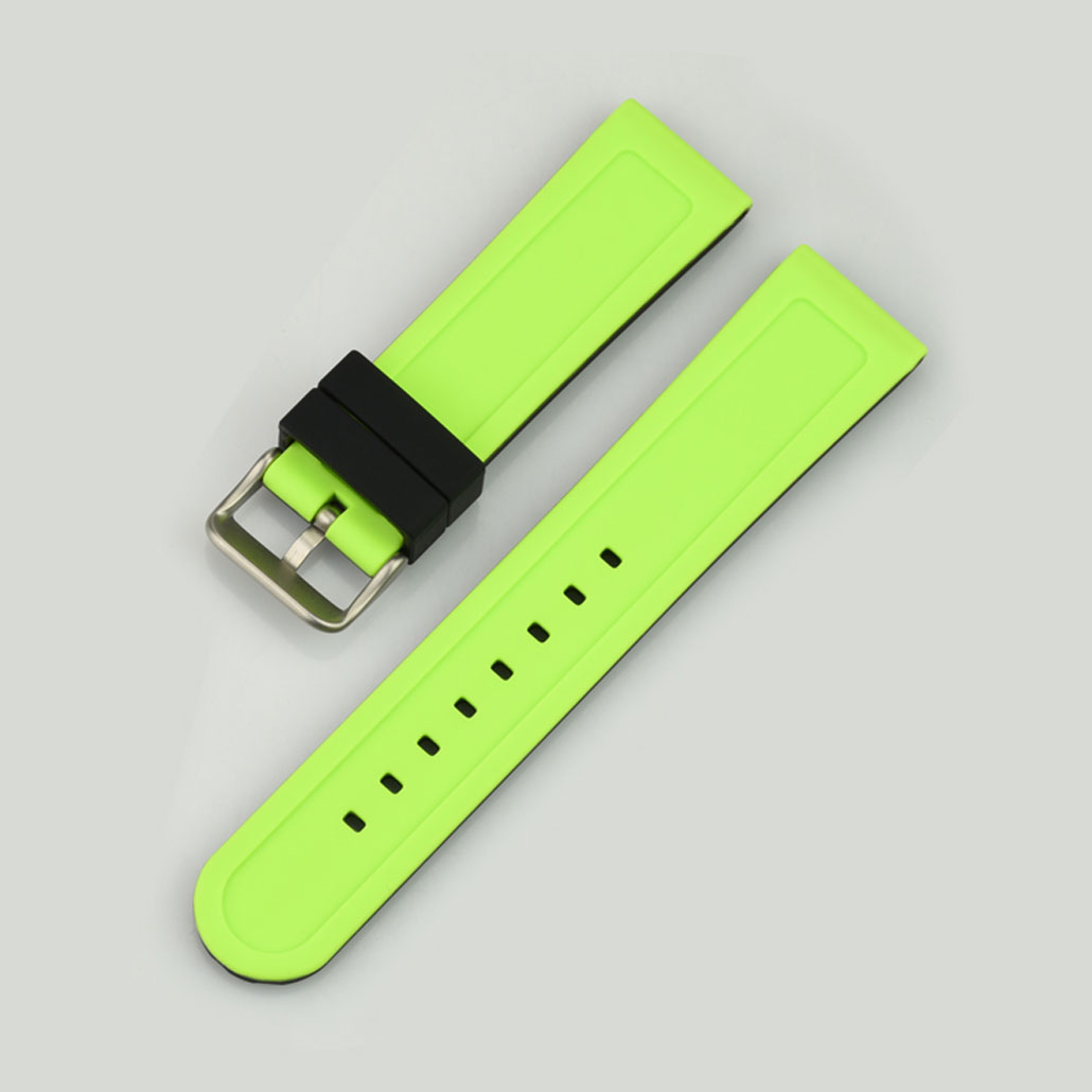 WR003 Black And Green Silicone Rubber Watch Strap