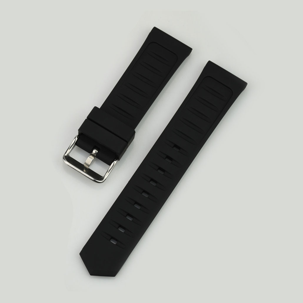WR004 Black Silicone Rubber Women's Watch Band