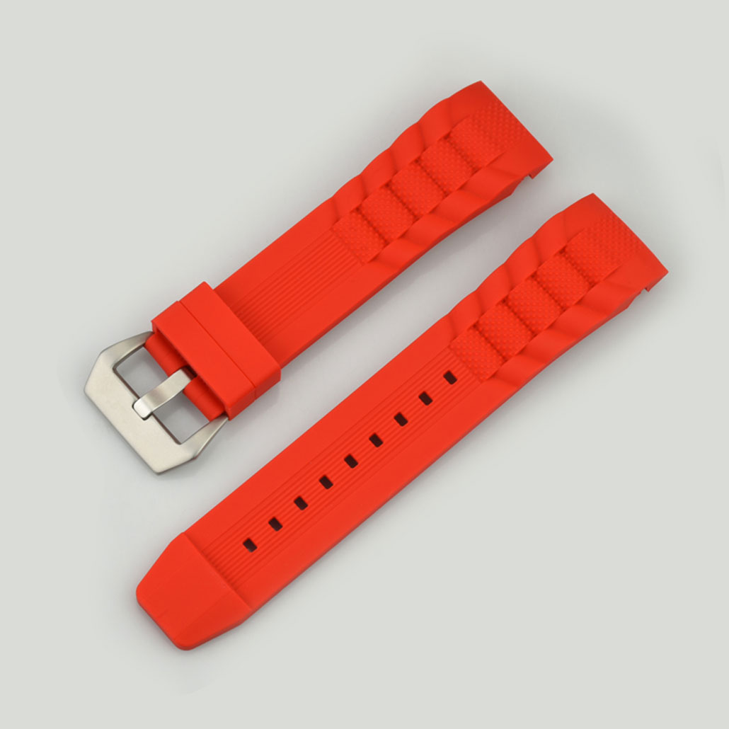 WR005 Red Silicone Rubber Watch Band