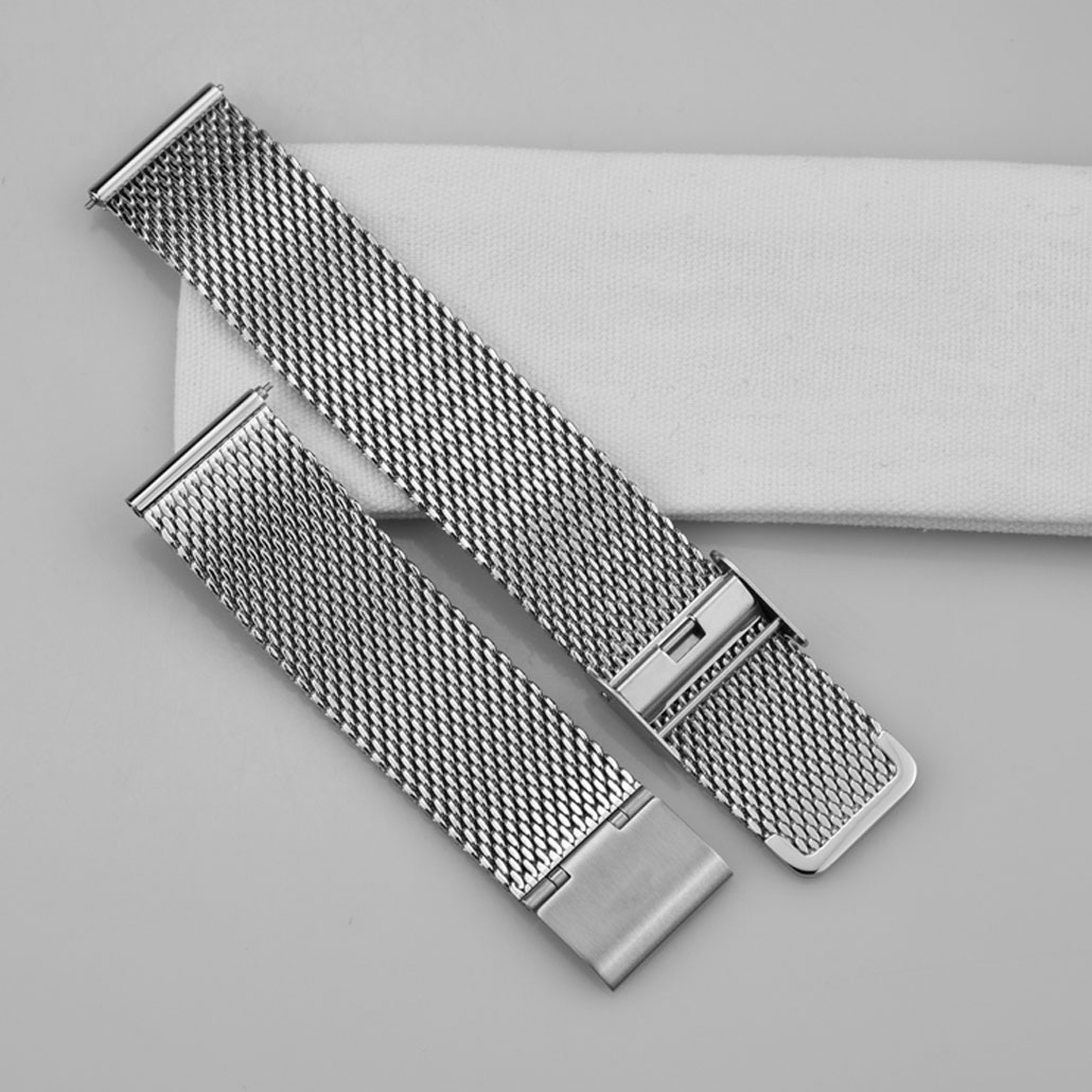 WS008 Silver Mesh Band With Quick Release Clasp