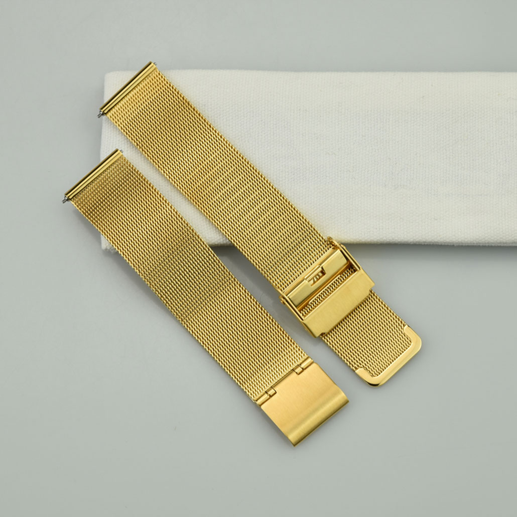 WS012 Gold Colored Stainless-steel Watch Bracelet With Safety Buckle