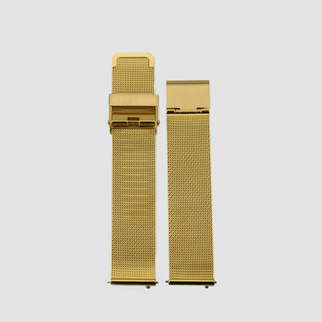 Gold Colored Stainless-Steel Watch Bracelet With Safety Buckle