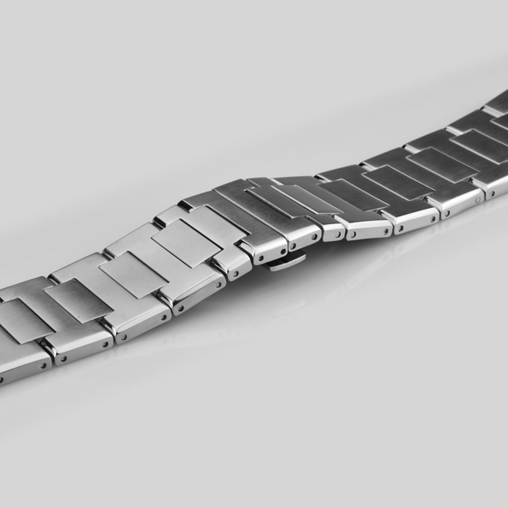 Silver Stainless-Steel Watch Strap For Men's Watches