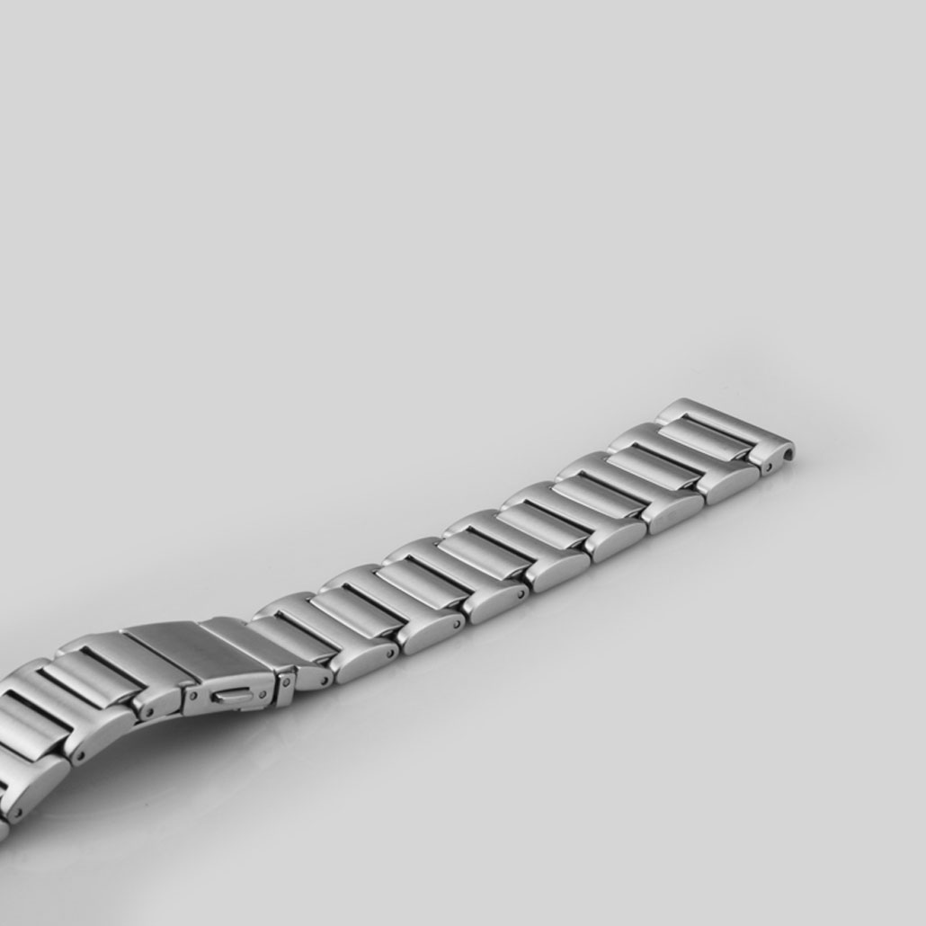 WS021 Push Button Clasp Stainless-steel Watch Band In Silver