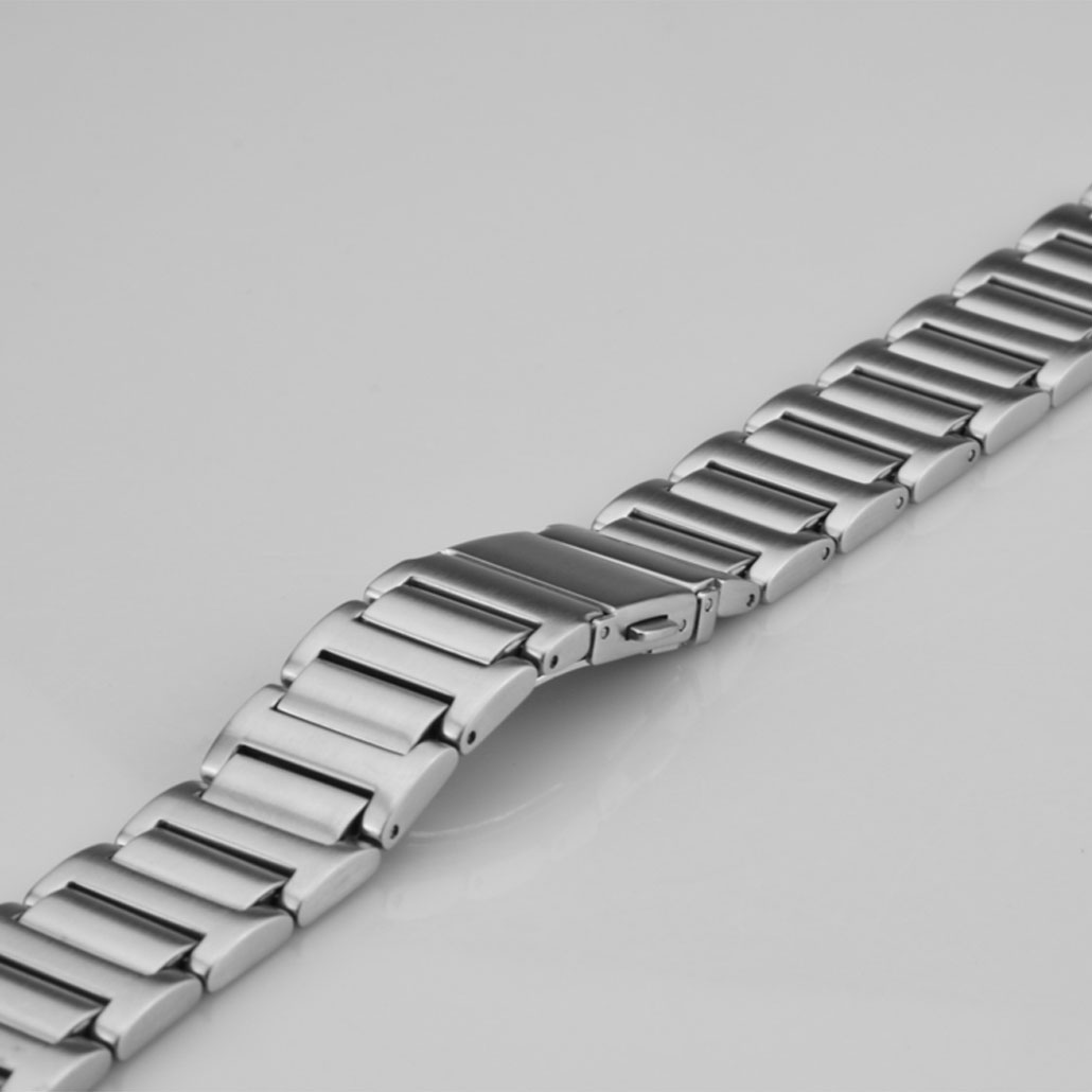 Push Button Clasp Stainless-Steel Watch Band In Silver