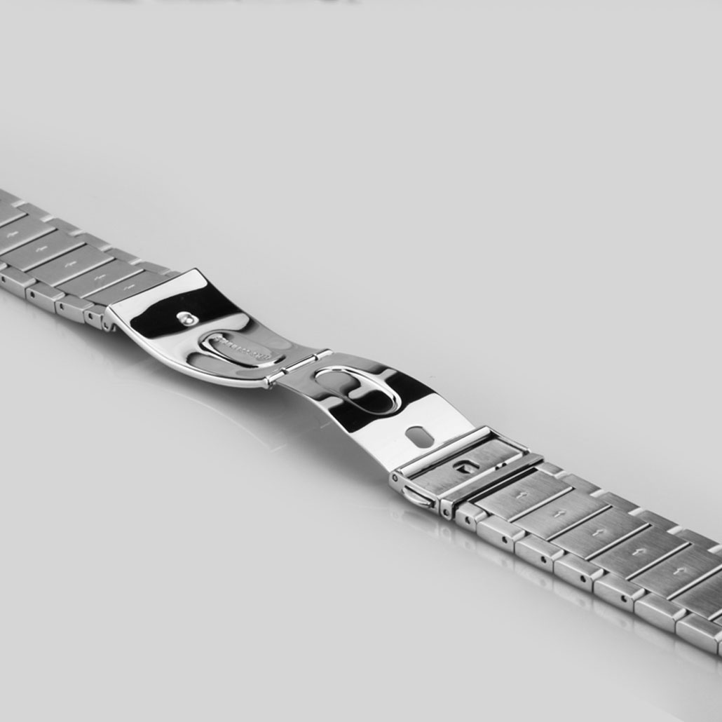 WS023 Silver Push Button Clasp Stainless- Steel Watch Bracelet