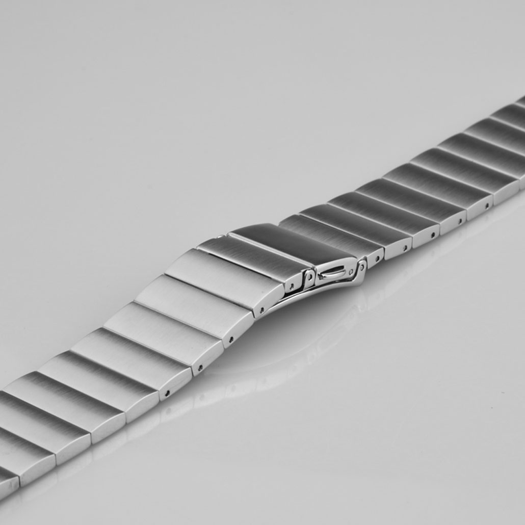 Silver Push Button Clasp Stainless-Steel Watch Bracelet